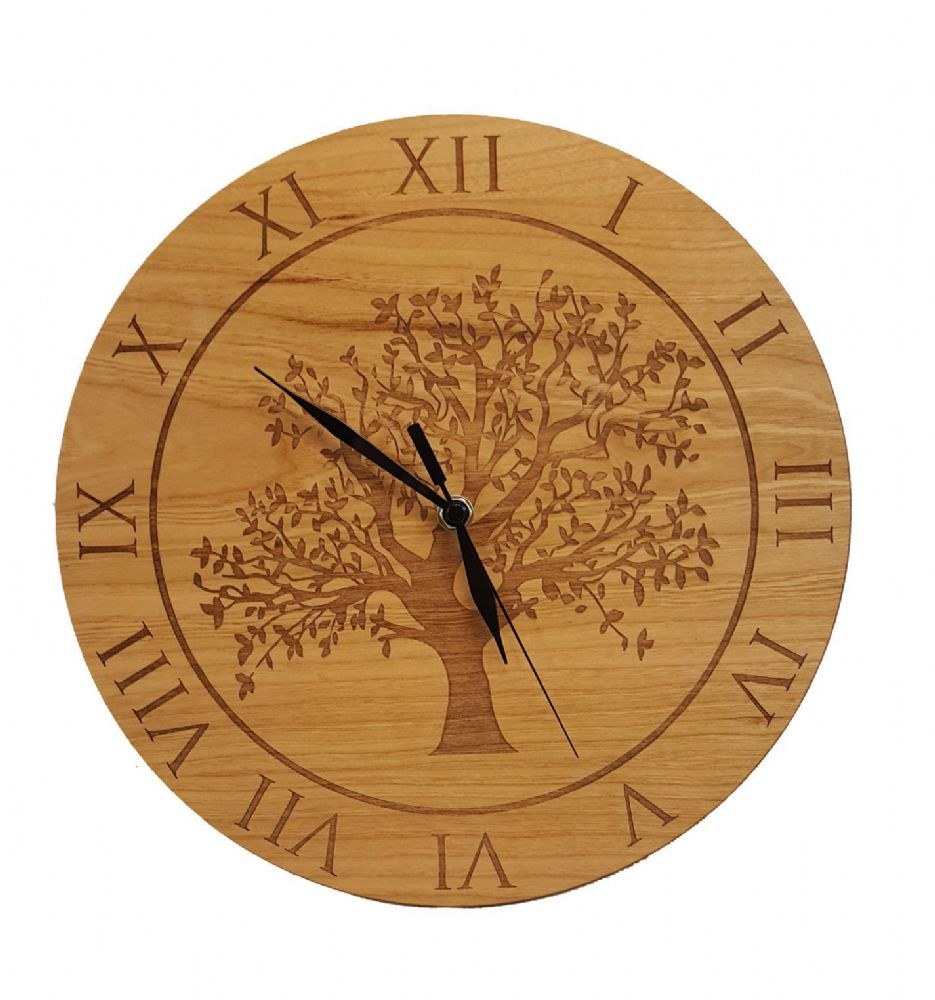 Engraved Oak Tree Clock Choice Of Wood Types